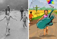Mākslinieks pārvērš šausminošas kara bildes ar bērniem par ko gluži pretēju FOTO