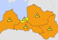 Sinoptiķi izplata oranžo brīdinājumu par laikapstākļiem tuvākajās stundās