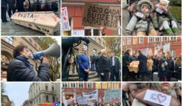 """""""Zārks vai čemodāns"""": Vairāki tūkstoši mediķu protestē pie Saeimas (FOTO, VIDEO)"""