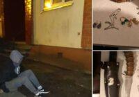 FOTO: Rūdītu dzīvokļu zagli aiztur mēģinājumā atmūķēt balkona durvis