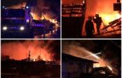VIDEO: Andrejsalā pamatīgs ugunsgrēks riepu noliktavā; ļaunprātības pazīmes neatrod