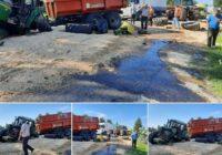 FOTO: Jēkabpilī smaga divu traktoru sadursme